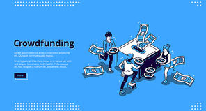 Crowdfunding isometric landing page. People donate money for creative idea support put coins in huge box. Volunteering and social help, philanthropy, donation and charity 3d vector line art web banner