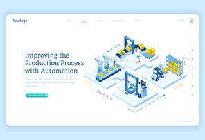 Production process with automation isometric landing page. Factory robotics arms on conveyor belt, smart warehouse logistics, cyborg industrial revolution, plant work improving 3d vector web banner