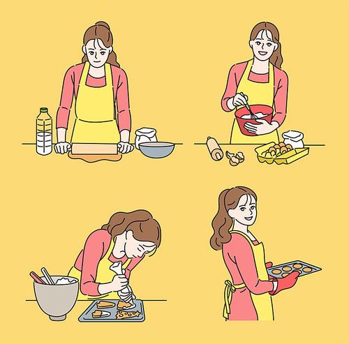 한 여성이 쿠키를 만들고 있다. 손그림 스타일 일러스트레이션.