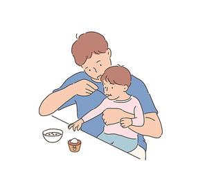 아버지의날. 어린 아이들과 함께 놀아주는 좋은 아빠. 심플한 벡터 스타일의 아웃라인이 있는 일러스트레이션.