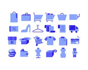 파란색 쇼핑 아이콘 모음.