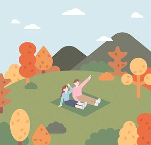 한커플이 가을 공원에 앉아있다. 주변에 나무들이 붉게 변하고 있다. 심플한 벡터 스타일의 일러스트레이션.