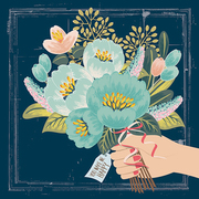 Illustration of a hand holding a bouquet