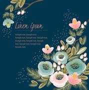 Vector illustration of a floral frame in spring