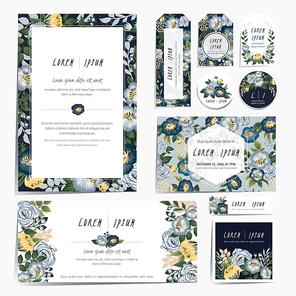 Vector illustration of a floral invitation card frame set in spring