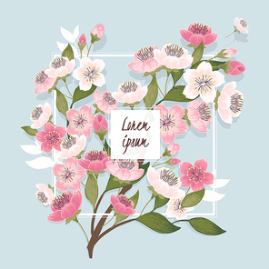 Vector illustration of frame with cherry blossom tree in spring