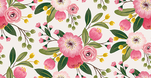 Vector illustration of seamless pattern in spring