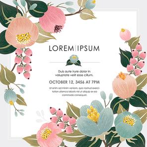 Vector illustration of a floral frame
