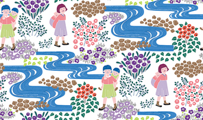한국적 이미지가 배경인 패턴 일러스트레이션