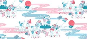 한국적 이미지가 배경인 패턴 일러스트레이션 연날리는 동네 아이들