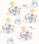 한국적 이미지가 배경인 패턴 일러스트레이션 강강수월래