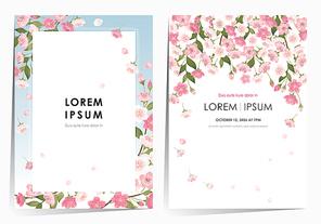 벚꽃이 만개한 벚나무 프레임 세트 봄 일러스트레이션