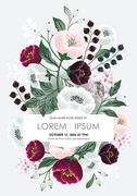 봄 꽃으로 장식된 플로럴 프레임 벡터 일러스트레이션