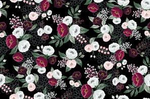 꽃으로 장식된 벡터 패턴 일러스트레이션