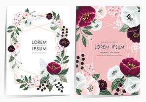 봄 꽃으로 장식된 플로럴 프레임 세트 벡터 일러스트레이션