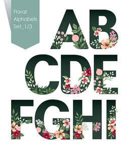 꽃으로 장식된 알파벳 대문자 세트 벡터 일러스트레이션