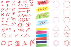 빨간펜 아이콘들과 불투명 포스트 잇 및 점선 다각형