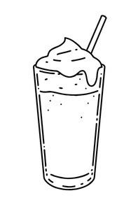 달고나 커피. 벡터 라인아트 일러스트.