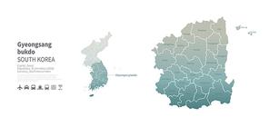 경상북도 지도. 한국의 행정구역 벡터 맵