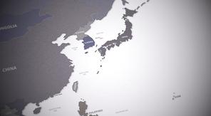 동북아시아 지도. 대륙별 국가들의 경계가 표시된 지도 3d render.