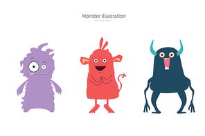 귀여운 몬스터 일러스트 vector. monster character set.