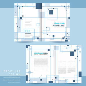 simplicity bi-fold brochure template design with squares elements