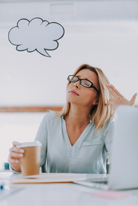 Too tired. Exhausted young office worker sitting with a cup of coffee and a thought cloud near the head while having closed eyes and making finger gun gesture