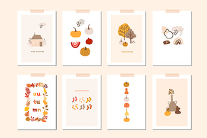 Autumn mood greeting card poster template. Welcome fall season thanksgiving invitation. Minimalist postcard nature leaves, trees, pumpkins, abstract shapes. Vector illustration in flat cartoon style
