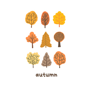 Autumn mood greeting card with tiny cute trees poster template. Welcome fall season thanksgiving invitation. Minimalist postcard nature web banner. Vector illustration in flat cartoon style