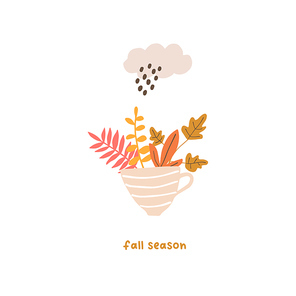 Autumn mood greeting card with cute cup, leaves, rainy cloud poster template. Welcome fall season thanksgiving invitation. Minimalist postcard nature. Vector illustration in flat cartoon style