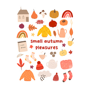 Autumn mood greeting card small autumn pleasures with house, sweater, pumpkin, book, mushroom poster template. Welcome fall season thanksgiving invitation. Vector illustration in flat cartoon style
