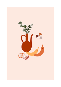Abstract trendy card with vase branch orange bananas for poster, home decor. Vector illustration in minimalistic hand drawn style