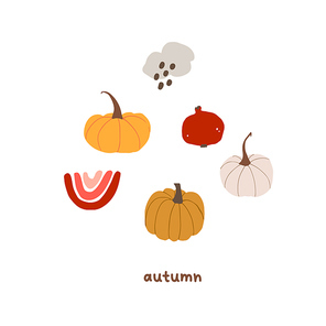 Autumn mood greeting card with pumpkin, rainy cloud, rainbow, pomegranate poster template. Welcome fall season thanksgiving invitation. Vector illustration in flat cartoon style