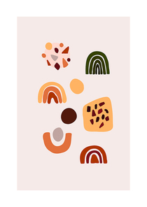 Abstract trendy card with geometric shapes for poster, home decor. Vector illustration in minimalistic hand drawn style