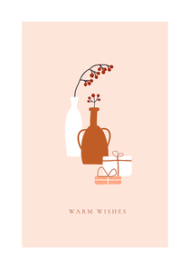 Abstract trendy christmas new year winter holiday card with vase red berries xmas gift box. Vector illustration in minimalistic hand drawn style