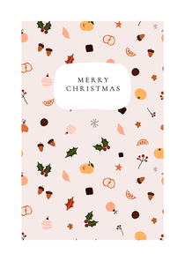 Abstract trendy christmas new year winter holiday card with xmas gifts balls holly jolly. Vector illustration in minimalistic hand drawn style