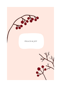 Abstract trendy christmas new year winter holiday card with xmas branch red berries. Vector illustration in minimalistic hand drawn style
