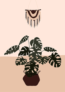 Abstract modern pot with monstera plant on light background. Fashion minimal trendy art in paper cut mosaic flat style minimal poster print. Vector hand drawn illustration
